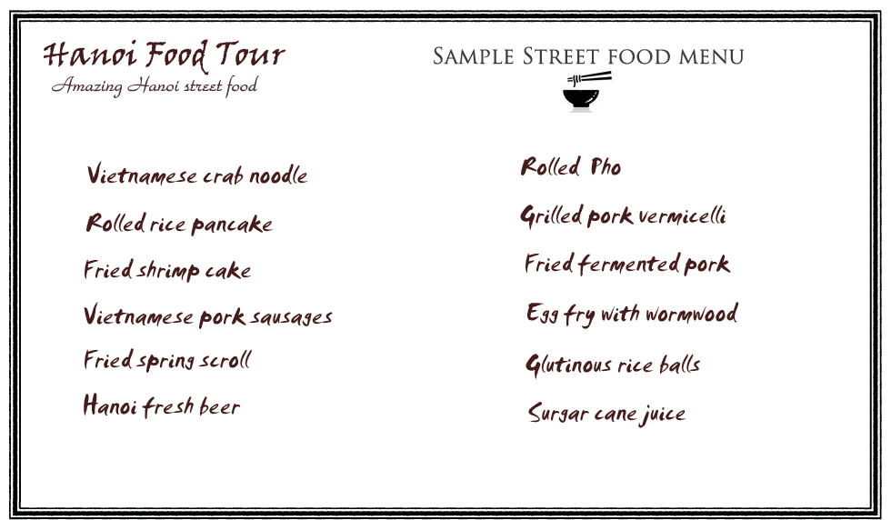 Hanoi street food tour sample menu